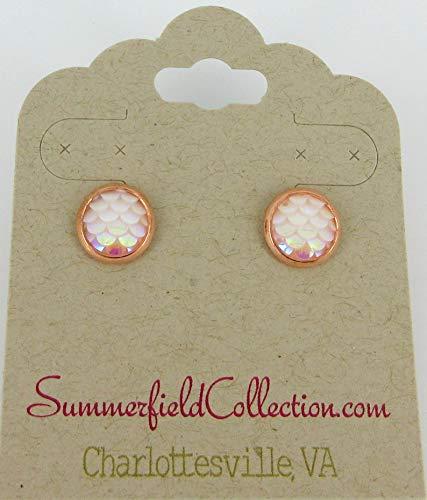 - Rose Gold-tone Light Pink White AB Mermaid Scale Stud Earrings 8mm Dragon
