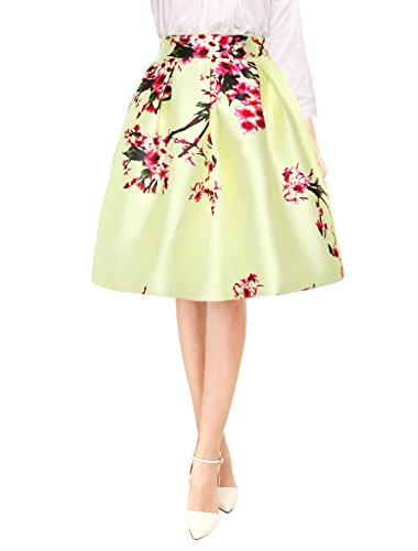 Allegra K Femme Fleurs Taille Haute Jupe Plisse Midi Ligne Light Yellow