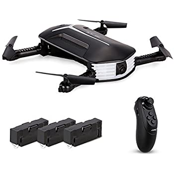Goolsky H37 Mini Drone with 720P Camera Live Video Selfie Foldable G-sensor  RC Quadcopter Altitude Hold Headless Mode Includes 3 batteries 9f2310588f