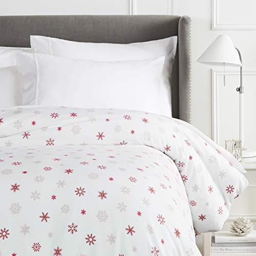 Pinzon Cotton Flannel Duvet Cover - Twin, Falling Snowflake Merlot
