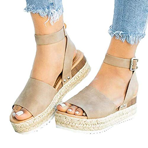 (Sunmoot Womens Flat Espadrilles Wedges Platform Sandals Buckle Ankle Strap Open Toe Chunky Heel Shoes Fashion Summer Khaki)