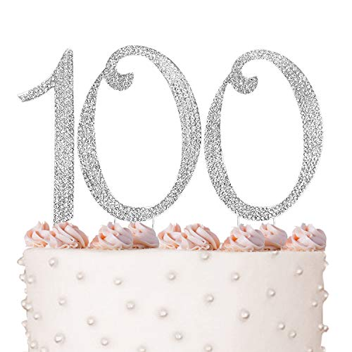 100, 100th Happy Birthday Cake Topper, Anniversary, Crystal Rhinestones on Silver Metal, Party Decorations, Favors -