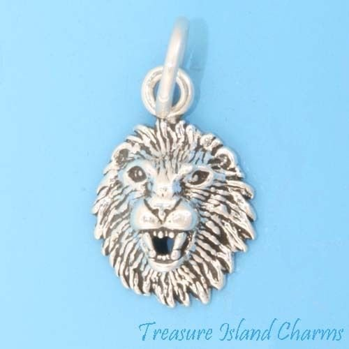 (Small Lion Head Leo Zodiac Sign 925 Sterling Silver Charm Crafting Key Chain Bracelet Necklace Jewelry Accessories Pendants)