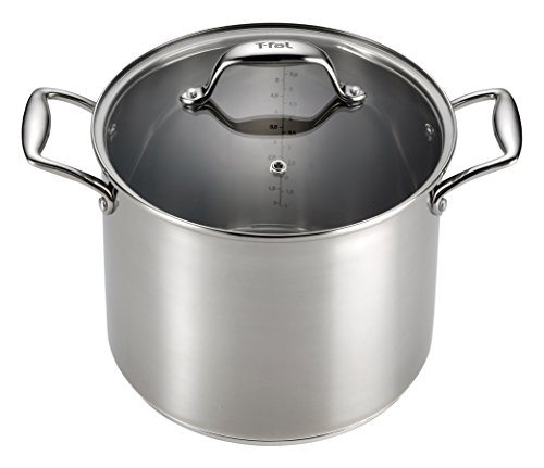 T-fal H80081 Performa X Stainless Steel Dishwasher Safe Oven Safe Stockpot Cookware, 8-Quart, Silver