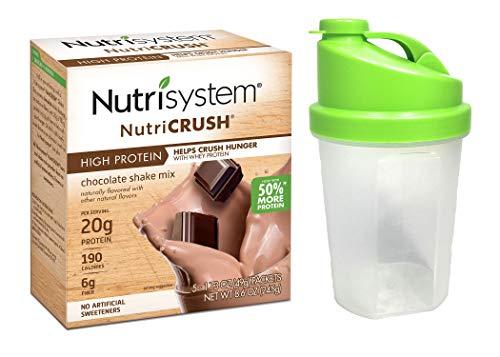 Nutrisystem NutriCRUSH Craving Crusher, New Improved Chocolate Shake Mix and Shaker Beverage Bottle (1 Box/1 Shaker Bottle) (5-1.4 Ounce Shake Packets)