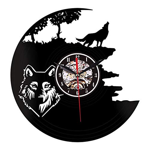 Glumes Vinyl Record Clock, Wall Clock Wolves Unique Home Room Wall Deco rHandmade Best Gift for Vinyl Record, Kovides, Beatles Birthday Gift, Unique Design