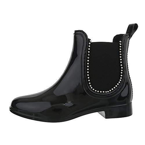 design Schwarz De Pluie D63p Bloc Chaussures Bottines Femme Bottes Ital Et  w871OqT aa7dd14717d1