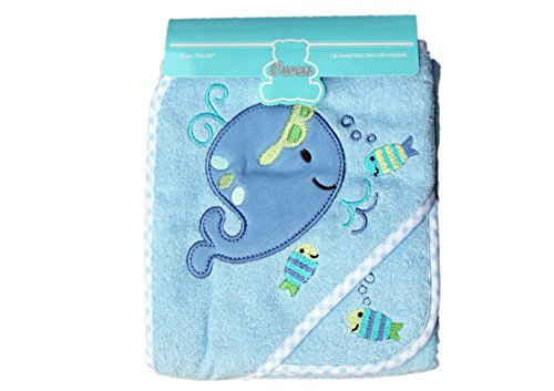 Owen Hooded Towel with Wash Cloth, (Blue)