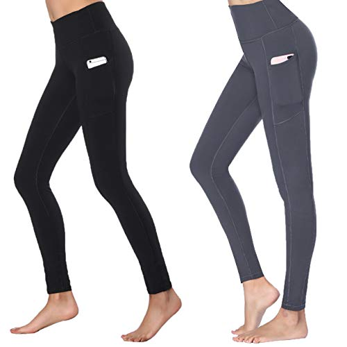 Women's High Waist Yoga Pants Side & Inner Pockets Tummy Control Workout Running 4 Way Stretch Sports Leggings