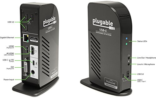 Plugable USB-C Triple Display Docking Station with Charging Support/Power Delivery for Specific Windows and Mac USB Type-C and Thunderbolt 3 Systems by Plugable (Image #1)