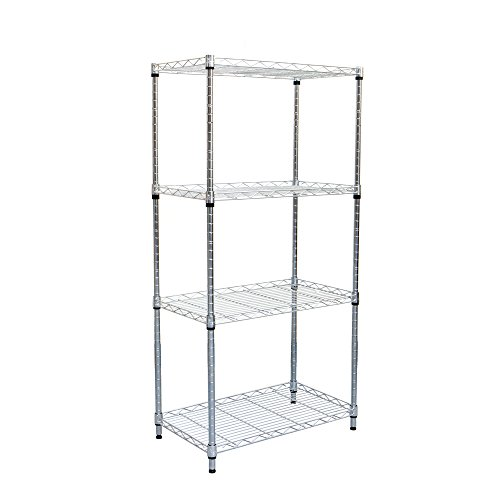 Mind Reader 4 Shelf Metal All Purpose Heavy Duty Adjustable Shelving Unit, Silver