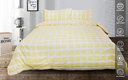 Milano Home Satin Checks Yellow 100% Natural Cotton 3 pc Checkered Duvet Cover Set, Modern Style Bedding Soft Feel Hidden Buttons - Queen ()