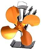 4-Blade Heat Powered Stove Fan for Wood / Log Burner/Fireplace -...