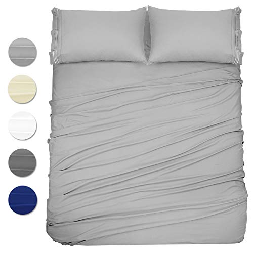 Wonwo Bed Sheets Set Queen Size, 4 Piece Microfiber 1800 Bedding Sets, Hotel Luxury Bed Sheets – Hypoallergenic 16″ Deep Pocket, 4 PC 1 Flat Sheet 1 Fitted Sheet 2 Pillowcases, Light Gray