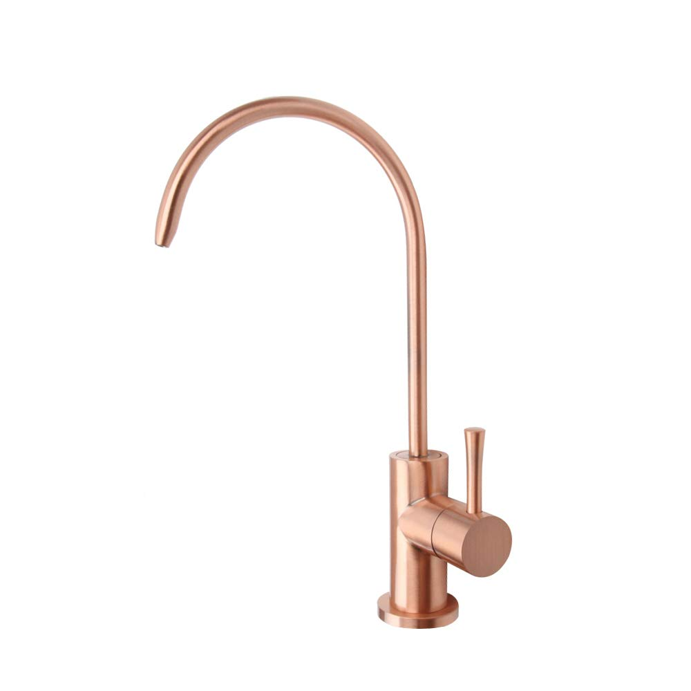 Copper Sink Water Filter Faucet, Brass Body 100% Lead-Free Drinking Water Faucet Fits Most Reverse Osmosis Units or Water Filtration System in Non-Air Gap (Only for Cold or Hot Water) - Akicon