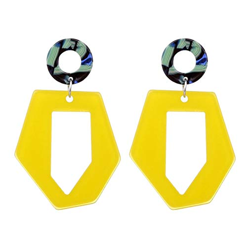 lightclub Fashion Circle Hollow Hexagon Acrylic Long Dangle Women Stud Earrings Jewelry Yellow