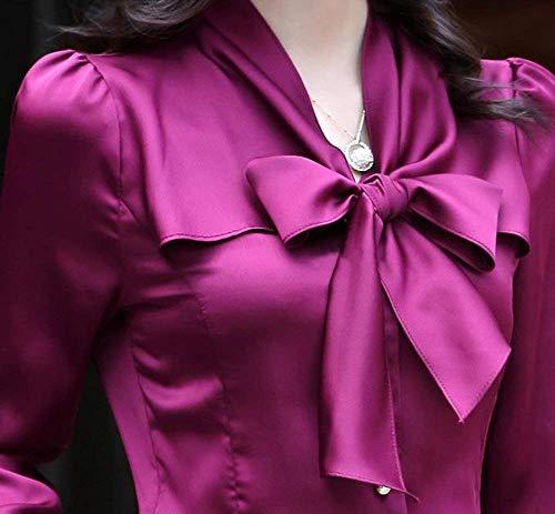 Affaires Elgante Lilas Haut Fashion Slim Blouse Automne Couleur Manches Longues Unie Casual Tops Bowknot Chemise Fit avec Shirt Femme Office Fille Classique Printemps qBOBZwU