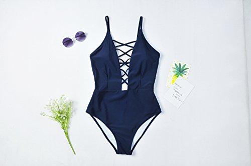Yolev Bañador de Espalda Traje de Baño Bañador de una Pieza Bikinis con Relleno Push Up para Mujer Azul