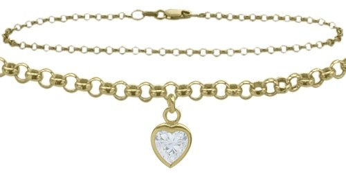 10K Yellow Gold 9'' Belcher Style 0.85tcw. White Topaz Heart Charm Anklet by Elite Jewels