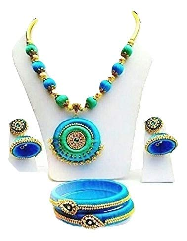 0d06241e6c36cb Thread Trends Multicolor Plastic Silk Thread Combo Of Necklace, Earrings, Bangles  Jewellery Set For