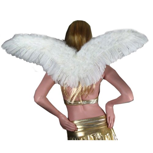 SACASUSA (TM) Large White Feather Angel Fairy Wings with Free Halo for adults -