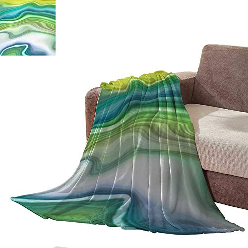 Plush Throw Blanket Abstract Marbled Background Decorative Painted Texture Liquid Paint marbling Effect Agate Macro Lines Wallpaper Full Size Blanket L70 ()