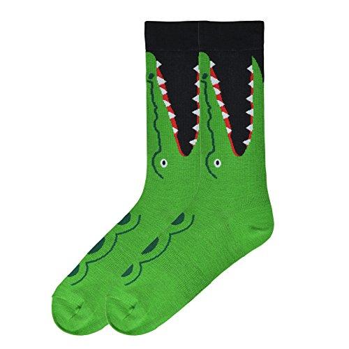 K. Bell Socks Men's Leg Eating Animal Novelty Crew Socks, Crocodile (Green), Shoe Size: 6-12