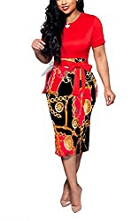 Uinolo Vintage Womens O Neck Bodycon Pencil Dresses Short Sleeve Floral Printed Patchwork Bandage Midi Dress S Zipper Printed Red