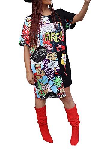 - Women Sexy Casual Short Sleeves Round Neck Digital Graffiti Print Cartoon Knee Length Pullover Mini Tunic T Shirt Dresses Evening Party Club Dress Black, X-Large
