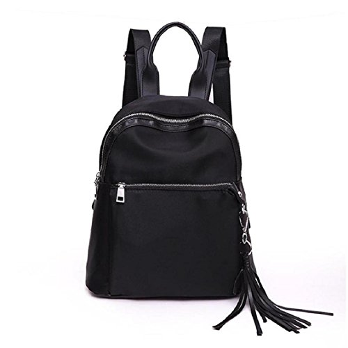 Backpack, Mchoice Women Girls Preppy Tassel Shoulder Bookbags School Travel Backpack Bag (Black)