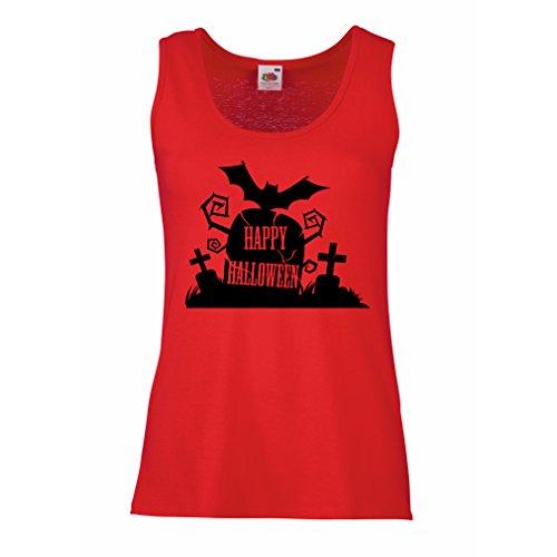 lepni.me Womens Tank Tops Halloween Graveyard Outfits - Costume Ideas - Cool Horror Design - All Saints' Eve - All Hallows' Evening (XX-Large Red Multi (Female Saint Costume Ideas)