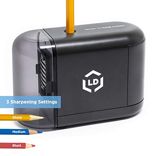 LD Products Electric Pencil Sharpener, Wall Power Supply Included - Professional, Home and Office - Small, Durable, Heavy Duty, Kid Friendly, 3 Sharpening Settings