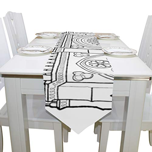 Table Cover Notre Dame De Paris Cartoon Simple Modern Table Runner Farmhouse Tablecloths for Kitchen Outdoor Carnival Party Wedding Table Covers Table Toppers 13x90 Inch