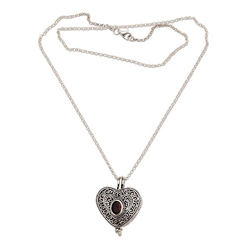 - NOVICA Garnet .925 Sterling Silver Filigree Heart Shaped Locket Pendant Necklace, 20