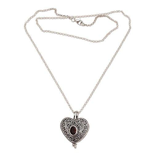 NOVICA Garnet .925 Sterling Silver Filigree Heart Shaped Locket Pendant Necklace, 20