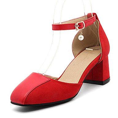 LvYuan Mujer-Tacón Robusto-Confort-Sandalias-Oficina y Trabajo Informal Fiesta y Noche-Semicuero-Negro Rojo Almendra Black