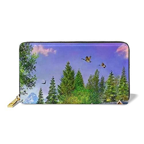 Leather Wallet Zipper Around Clutch Purse Waterproof Card Holder For Men & Women - Lakeside House ()