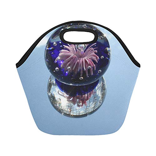 Insulated Neoprene Lunch Bag Paperweight Glass Mirror Sphere Globe Reflection 22761 Large Size Reusable Thermal Thick Lunch Tote Bags For Lunch Boxes For Outdoors,work, Office, School