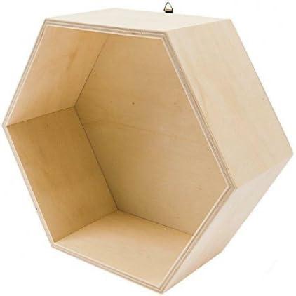 Caja de madera hexagonal rico design gran: Amazon.es: Hogar