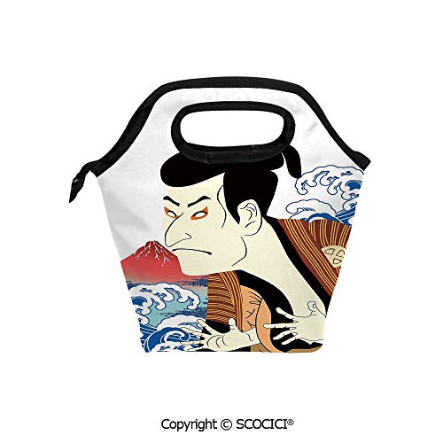 (Portable thickening insulation tape Lunch bag Performer Portrait Stylized Japanese Waves Mount Fuji Illustration Decorative for student cute girls mummy bag.)