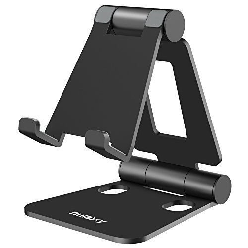 (Nulaxy Adjustable Phone Stand, Tablet Stand, Cell Phone Stand, Desktop Phone Holder Cradle Dock Compatible with iPhone Xs Xs Max Xr X 8 7 6 6s Plus, iPad, Nintendo Switch, Tablets (4-10''), All Phones)