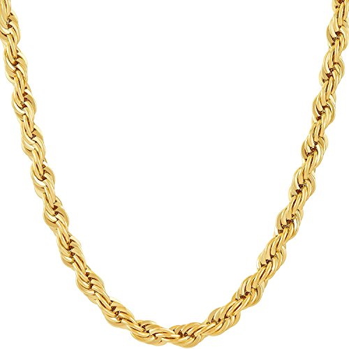 kwality 6MM Rope Chain, 24K Gold with Inlaid Bronze, Premium Fashion Jewelry, Pendant Necklace Made to Wear Alone or with Pendants, Guaranteed for Life 24inch
