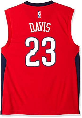 fan products of NBA Men's New Orleans Pelicans Anthony Davis Replica Player Alternate Road Jersey, Medium, Red