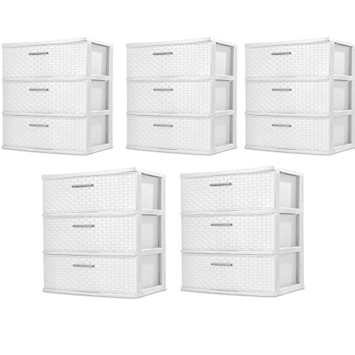 5 packs Wide 3-Drawer Weave Tower White Sterilite by STERILITE