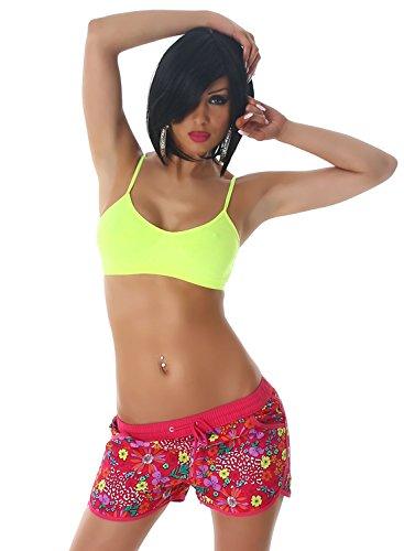 veryzen Pantalones cortos para mujer, con bordes de colores Rosa