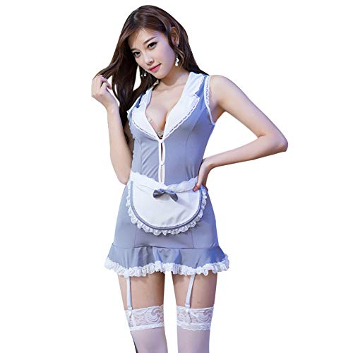 ENUOLADY Sexy French Maid Costume Outfits Deep V Lace Lingerie Babydoll with Stockings Garter Belts Grey