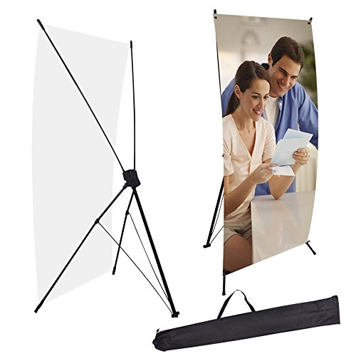 Professional 24x63 Inches Foldable Tripod Black Trade Show Sign Exhibition Holder X Banner Stand for Portability Display Graphics Campaigns Advertise Events Sales from Generic