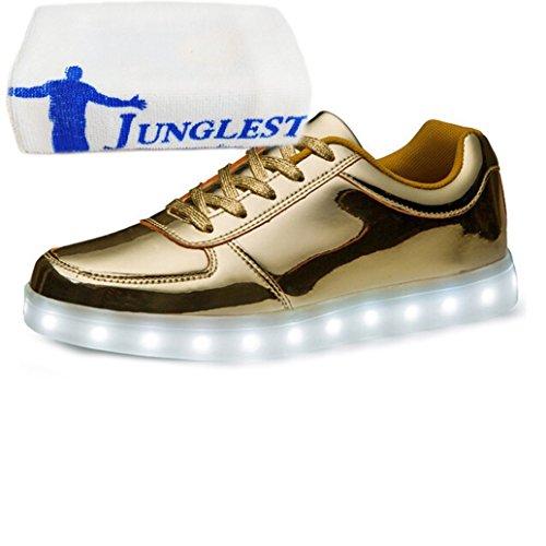 (Present:kleines Handtuch)JUNGLEST JUNGLEST(TM) 7 Farbe USB Aufladen LED Leuchtend Sport Schuhe Sportschuhe Sneaker Turnschuhe für Unis Gold