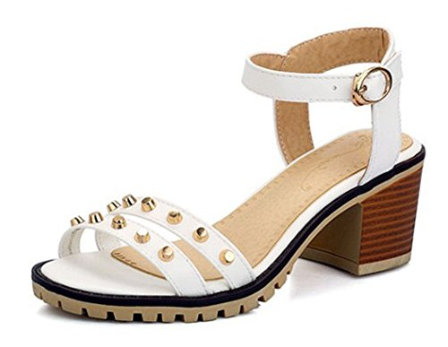 Aisun Women's Hot Studded Open Toe Buckle Block Kitten He...