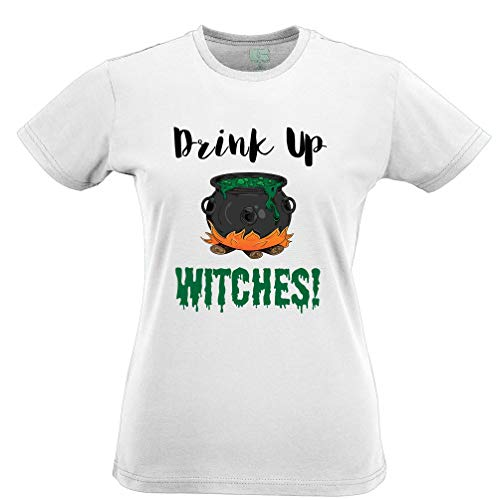 - Tim And Ted Halloween Womens Tshirt Drink Up, Witches Cauldron White S